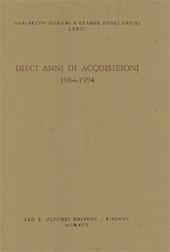 Dieci anni di acquisizioni : 1984-1994