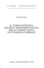 Il verbo etrusco : ricerca morfosintattica delle forme usate in funzione verbale