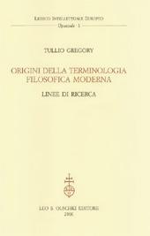 Origini della terminologia filosofica moderna : linee di ricerca
