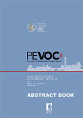 Pan European Voice Conference abstract book : PEVOC 11 : August 31 - September 2, 2015, Firenze, Italy