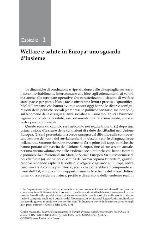 Welfare e salute in Europa : uno sguardo d'insieme - [Mascagni, Giulia] - [Firenze : Firenze University Press]