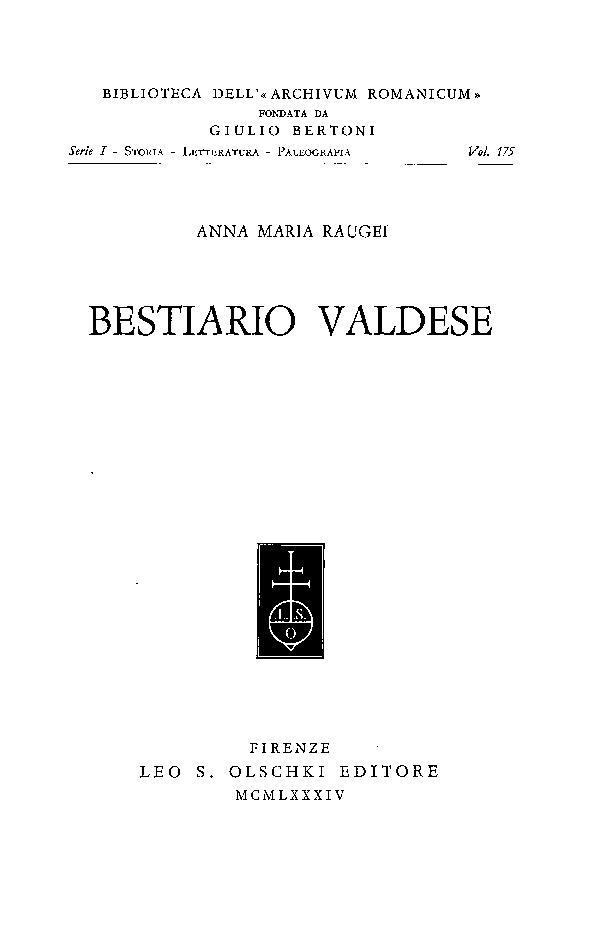 Bestiario valdese - [Raugei, Anna Maria] - [Firenze : L.S. Olschki, 1984.]